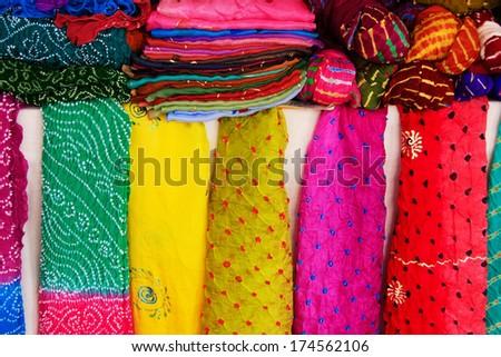 Display of colorful scarves, Mehrangarh Fort, Jodhpur, Rajasthan, India - stock photo