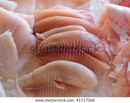Display of fresh seafood fish fillets on ice cubes - stock photo