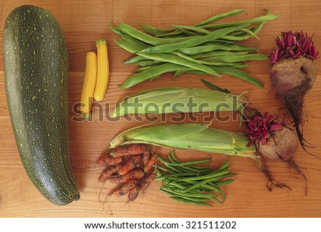 Display of Home Grown Vegetables, Marrow, Golden Courgettes, Maize, Carrots, Beetroot, French Beans, Runner Beans, on a Reclaimed Oak Table Top in Eggesford, Devon, England, UK - stock photo