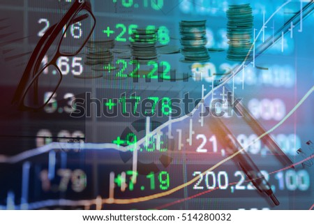 Display of Stock market quotes. Business graph background which including of Stock market chart and indicator in Forex trading.