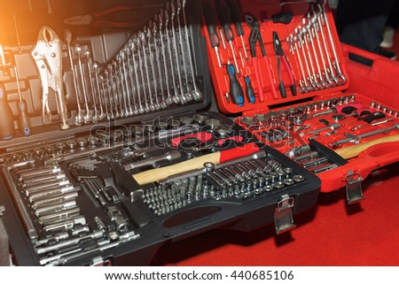 Display of tools shop marketing for home and auto repair. Wrenches for mechanic lying on the counter. Tools for auto spare parts and auto service