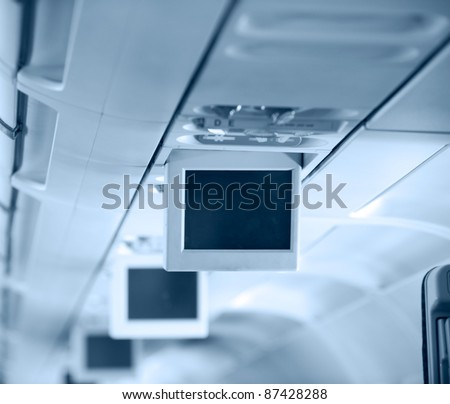 Display screen  in the airplane. - stock photo
