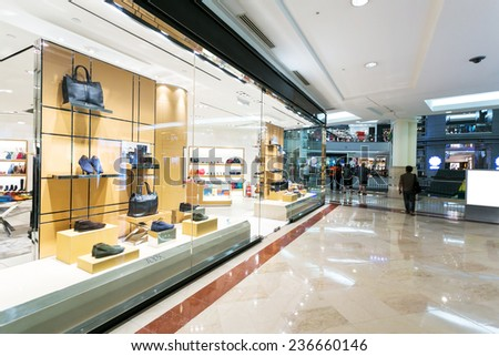 display window of fashion store in shopping mall. - stock photo