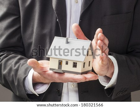 displaying traditional home for rental business - stock photo