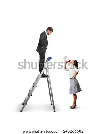 displeased businessman standing on the stepladder and looking down at angry screaming woman with megaphone. isolated on white background - stock photo