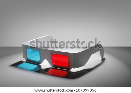 Disposable cardboard 3D Anaglyph glasses with cyan/red lenses. - stock photo