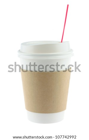 Disposable coffee cup in isolated white background - stock photo