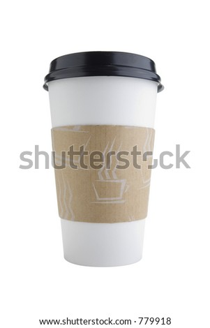 Disposable coffee cup isolated on white with clipping path outline. - stock photo