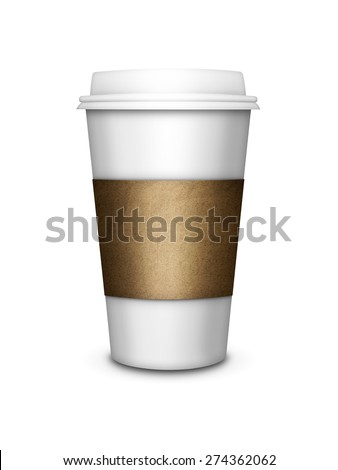 disposable coffee cup isolated over white background