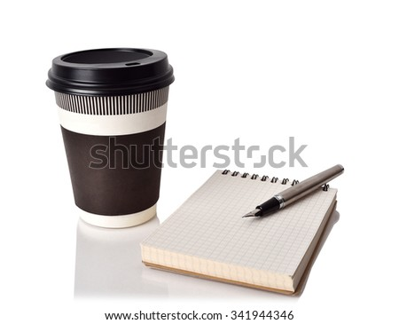 disposable coffee cup, notebook and ink pen on white background - stock photo