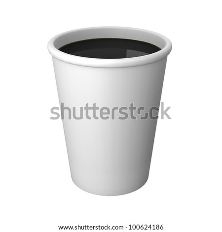 Disposable paper cups on white