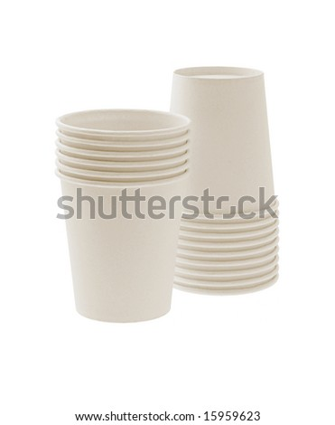 Disposable paper cups on white background - stock photo