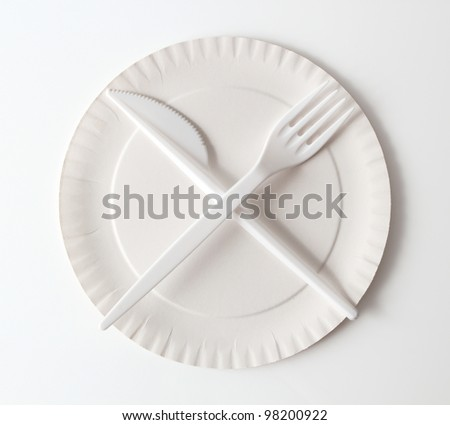Disposable Paper Plate, Fork and Knife. Isolated with clipping path. - stock photo