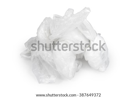 disposable white and softPlastic bags background texture isolated on white background. clipping path - stock photo