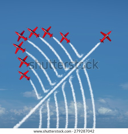 Disruptive innovation Independent leadership concept and individuality as a group of acrobatic jets with one individual jet going in the opposite direction as a business symbol for new thinking. - stock photo
