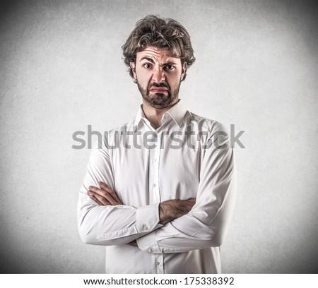 dissatisfied man - stock photo