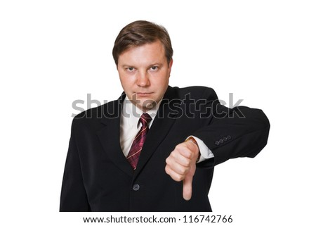 Dissatisfied man isolated on white background
