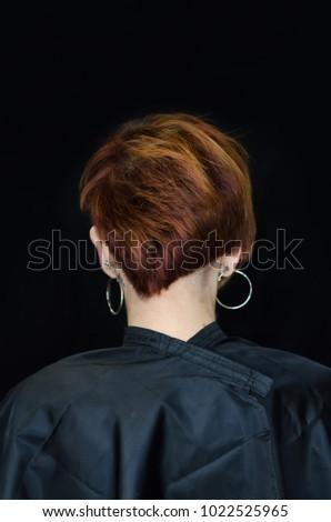 Dissymetric Hairstyle Real Bob Haircut Back Stock Photo Royalty