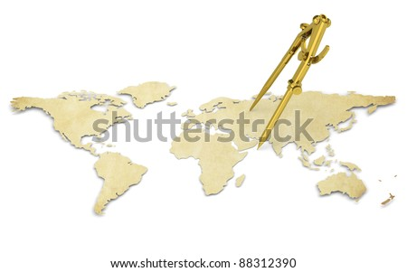 Distance. A World Map in 3D. Paper Shape, thin and Antique style. Brass Divider. - stock photo