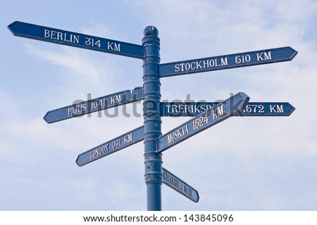 Distance sign - stock photo