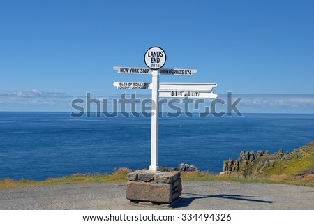 distance signpost at Land's End, Penwith Peninsula, Cornwall, England, most westerly point of England on the Penwith peninsula eight miles from Penzance on the Cornish coast