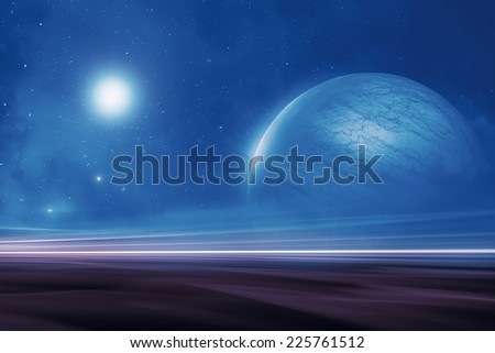 Distant alien world landscape - stock photo