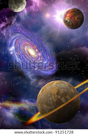 distant galaxies and planets flying in outer space - stock photo