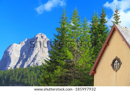 Distant mountains seen from Tre Crocci pass, Dolomite Alps, Italy - stock photo