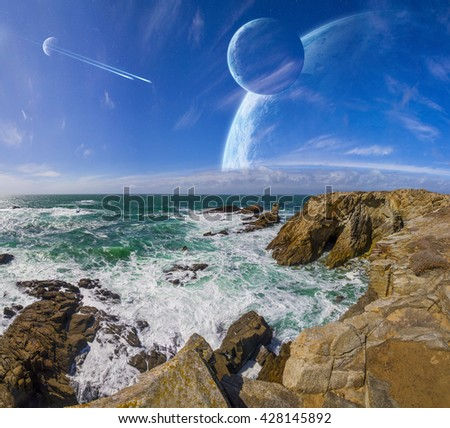 Distant planet system view from cliffs and ocean 'elements of this image furnished by NASA' '3D rendering' - stock photo