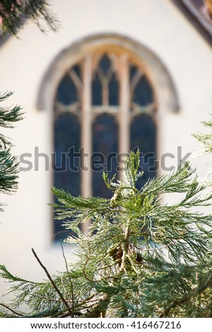 distant stained glass church window through pine tree vegetation - stock photo