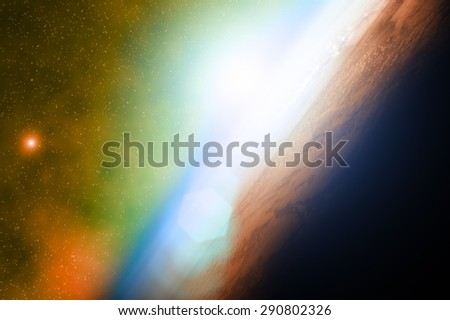 Distant stellar system. Digital illustration. - stock photo