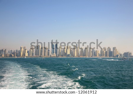 Distant View Dubai Marina Buildings From Gulf