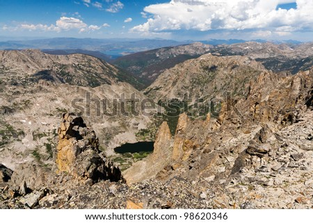 Distant view from the continental divide in the Colorado Rocky Mountains - stock photo