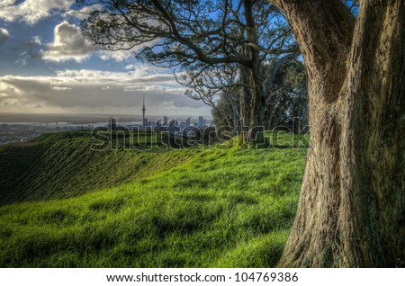 Distant view of Auckland city across a hilltop - stock photo