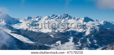 Distant view on the Courchevel. Ski resort in French Alps. Panorama - stock photo