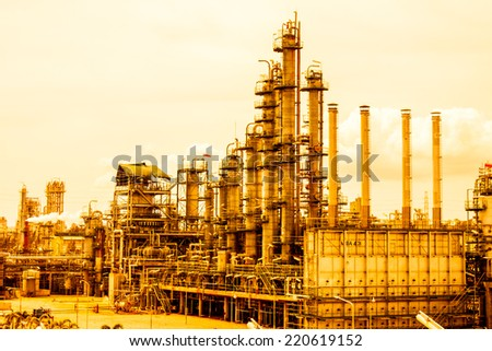 Distillation of petrochemical plant - stock photo