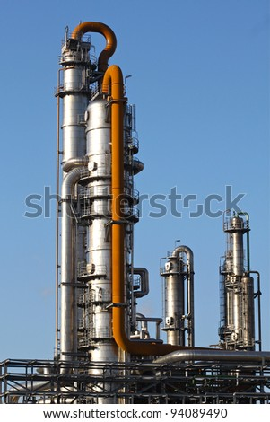 Distillation towers - stock photo