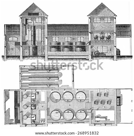 Distillery beet working in continuous presses, plan and elevation, vintage engraved illustration. Industrial encyclopedia E.-O. Lami - 1875.  - stock photo