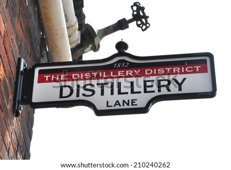 Distillery district sign - stock photo