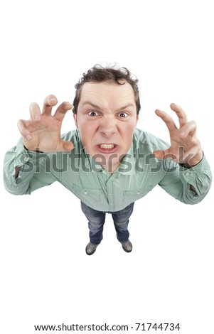 Distorted image of an angry young man gesturing. Fish-eye lens used. Studio shot. Isolated on pure white background. - stock photo