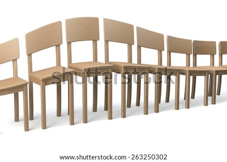 Distorted row of wooden chairs on white background, distortion in a surrealistic wave fashion, unusual, 3d rendering - stock photo