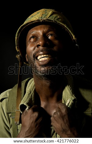 Distraught American Soldier - Vietnam War - stock photo