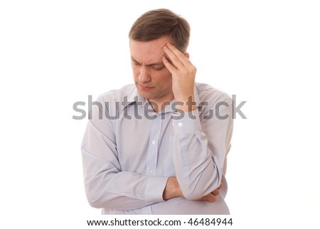 distraught man  alone on a white background - stock photo