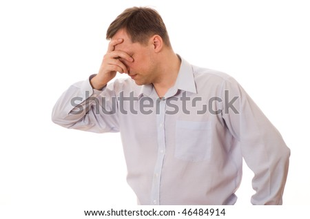 distraught man on a white background - stock photo