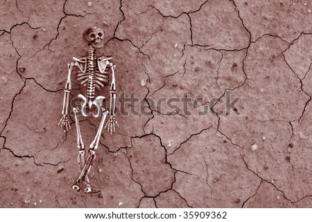 Distressed cracked earth with spooky Skeleton background for Halloween or Pirate Themed events