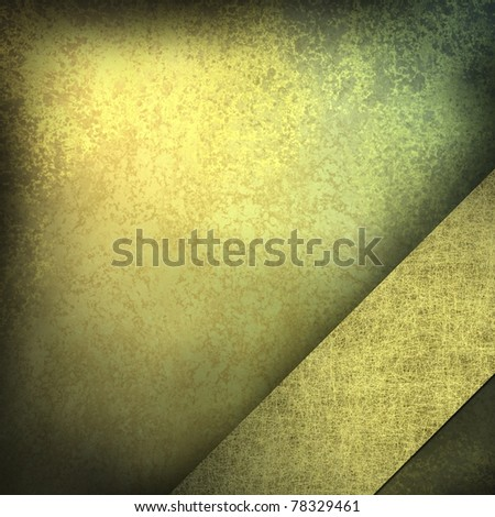 distressed gold background with warm burnished color and dark black burnt edges and grunge textured ribbon at an angle in the corner