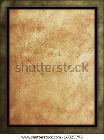 Distressed leather background with black & green border - stock photo