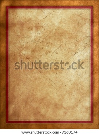 Distressed leather background with red border - stock photo