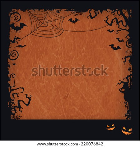 Distressed orange brown background with dark Halloween themed framed, scary tree branches, creepy bats, a big spiderweb with two spooky looking pumpkin. Vector available. - stock photo
