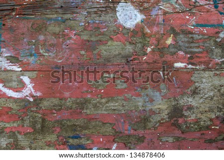 Distressed Table Top Weathered distressed painted table top - stock photo